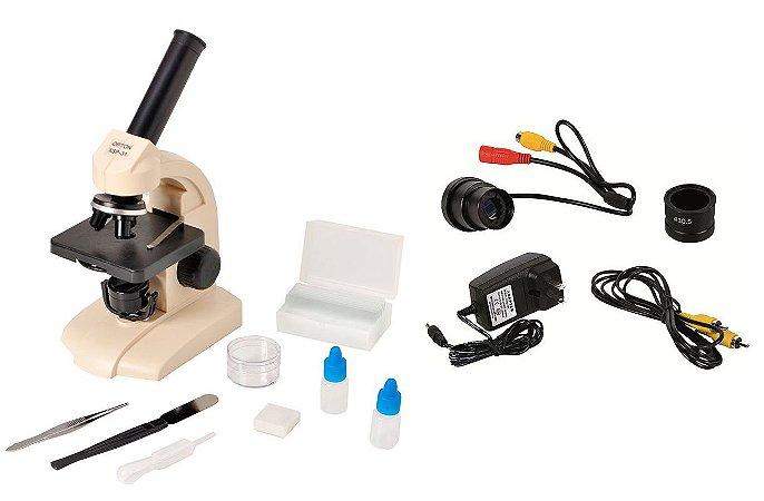 Microscópio Biológico Monocular + Câmera de vídeo alta resolução saída RCA conexão TV