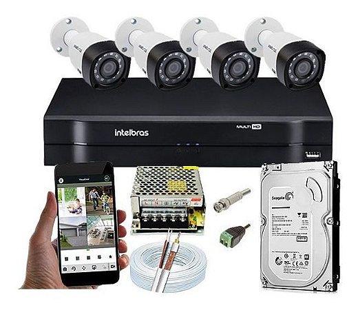 ( Já Instalado)Kit Cftv 4 Câmeras Segurança  Hd 720p 1120 Dvr 1104+hd  1tb