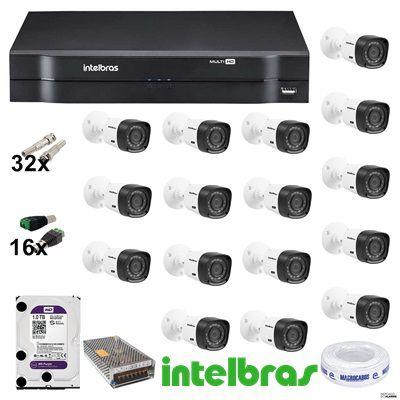 ( Já Instalado)Kit 16 Câmeras vhl 1120- 720p G4 Dvr Multi Hd 1116 Intelbras 16 Canais+hd 1/tb