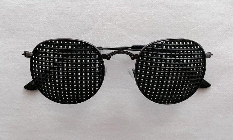 Óculos Terapêutico de Metal Oval Preto