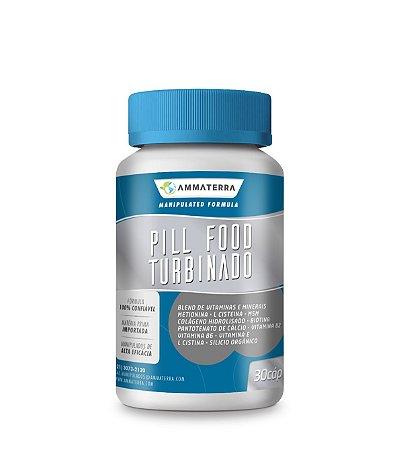 Pill Food Turbinado 30 Cápsulas,  (Estimula o crescimento capilar e das unhas, além de promover a boa saúde da pele)
