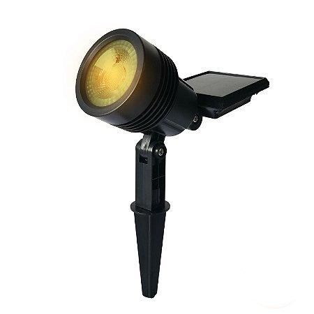 Luminária Solar Spot com Espeto de Jardim Super LED Amarelo - Branco Quente (3000K)