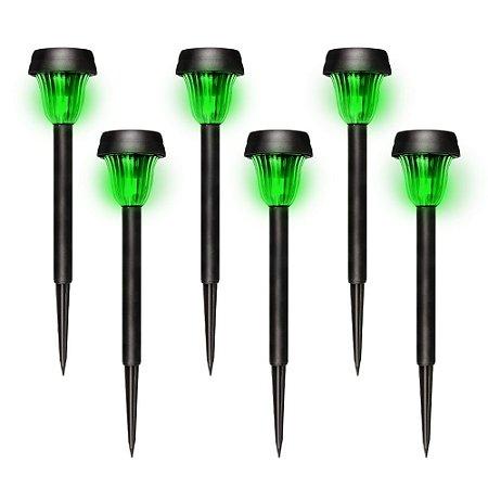 Kit com 6 - Luminária Solar de Jardim Poste Balizador ABS LED Verde