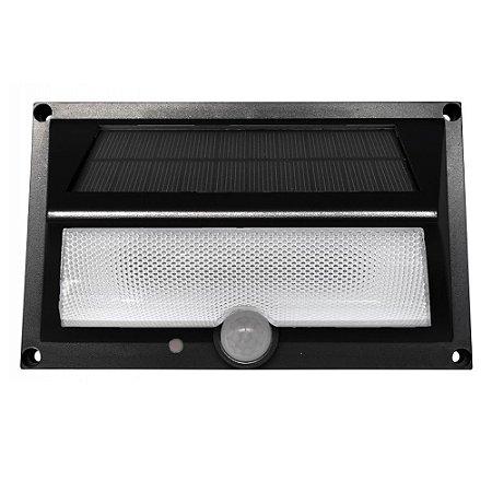 Arandela Solar Luminária de Parede Externa Sensor de Presença Luz Amarela LED Branco Quente 3000K - 600 Lúmens
