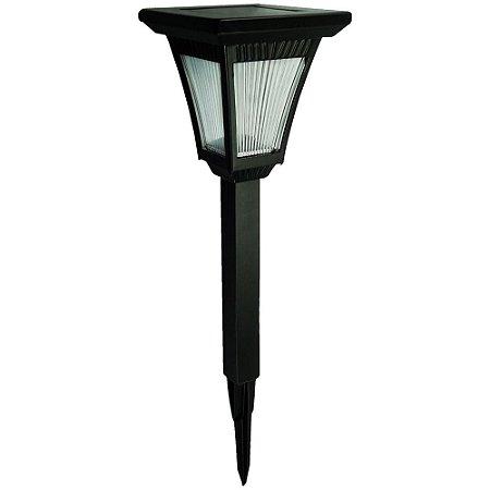 Luminária Solar Poste Balizador de Jardim Estilo Colonial Cúpula de Vidro LED Branco Quente 3000K