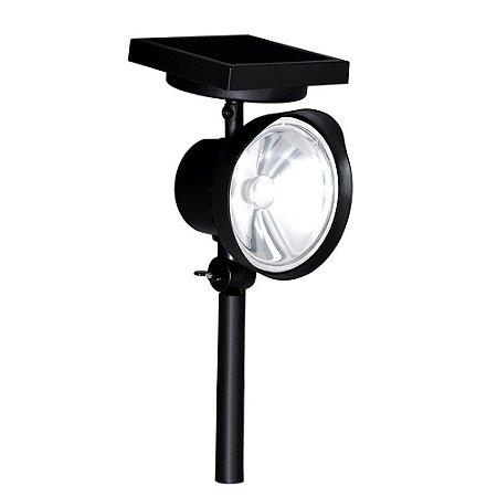 Luminária Solar Refletor Spot de Jardim Parede, Piso ou Gramado LED 1W Branco Frio 6000K
