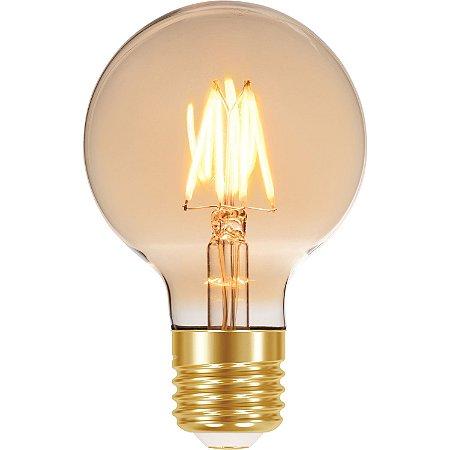 Lâmpada Retrô Balão Filamento Vintage G80 LED 4W Âmbar Autovolt