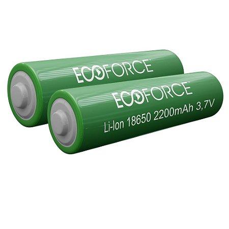 Kit com 2 - Bateria Lítio Recarregável 18650 3,7v 2200MaH Para Luminária Solar Ecoforce