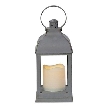 Lanterna Marroquina Rústica Lampião Cinza Envelhecido com Vela LED