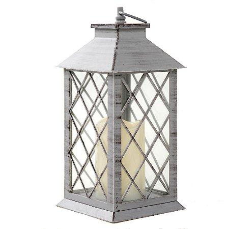 Lanterna Marroquina Grade Cinza Envelhecida com Vela LED