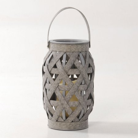 Lanterna Decorativa Cesto Cinza Rústica com Vela LED