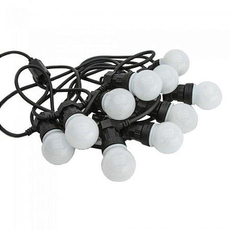 Cordão de Luzes Emborrachado à Prova D'Água Festão 8m 10 Lâmpadas LED Branco Quente 3W Bivolt