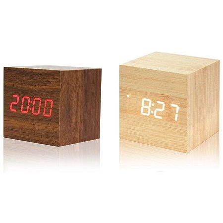 Relógio Despertador de Madeira Quadrado LED