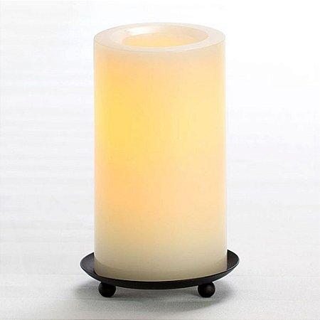 Luminária Vela LED Decorativa Amarela Pilha 15cm