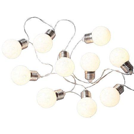 Cordão de Luzes Decorativo Mini Festão 10 Lâmpadas LED Branco Quente 3000k