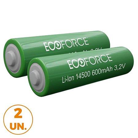 Kit com 2 - Bateria Lítio Recarregável 14500 3,2v 600MaH Para Luminária Solar Ecoforce