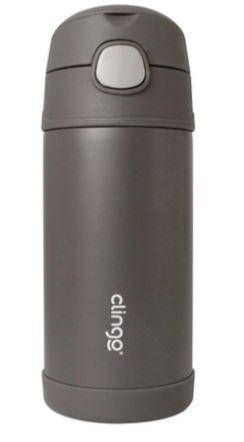 Garrafa Térmica com Canudo de Silicone Grafite 270ml - Clingo