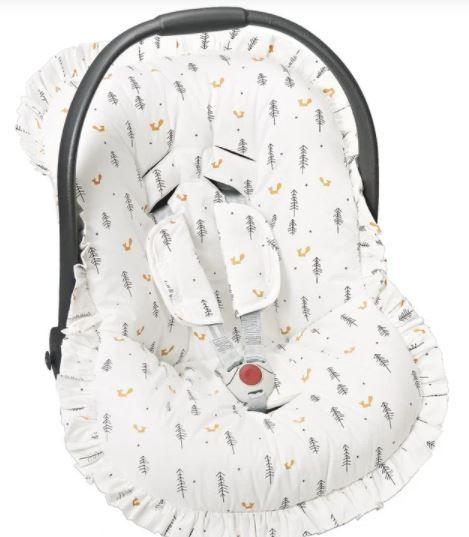 Capa Bebê Conforto com Protetor de Cinto e Babado  Raposa - Batistela