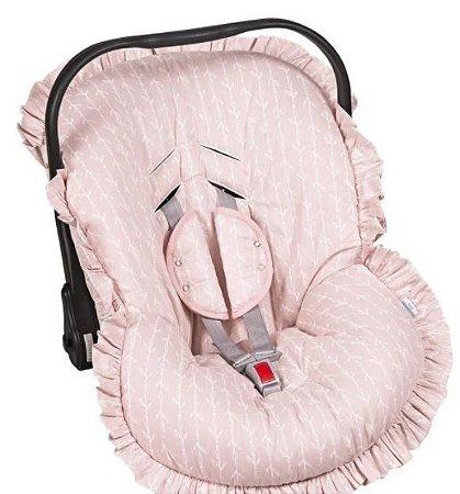 Capa Bebê Conforto com Protetor de Cinto e Babado Raminhos Rosa - Batistela