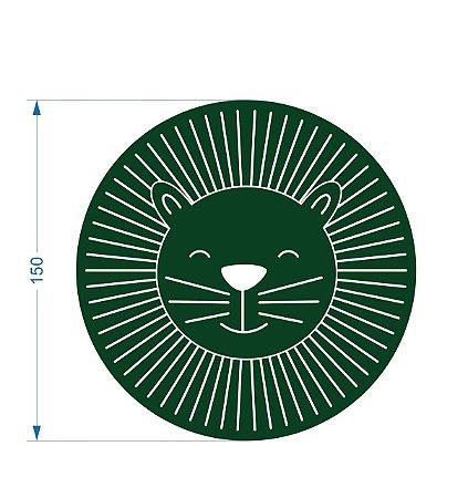 Tapete Infantil Alto Padrão Coleção Safari Leão Redondo 150cm Verde Safari - Moriah