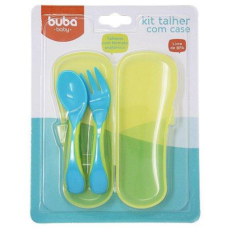 Talher Kit Garfo e Colher BABY COM CASE Azul - Buba