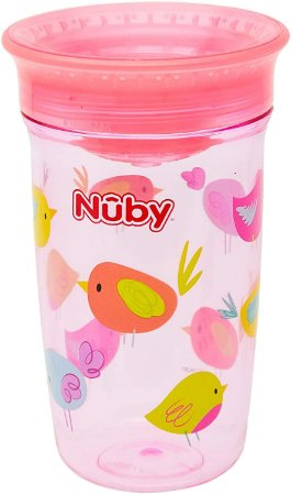 Copo de Bebê Tritan 360° 300ml Rosa +12m - Nûby