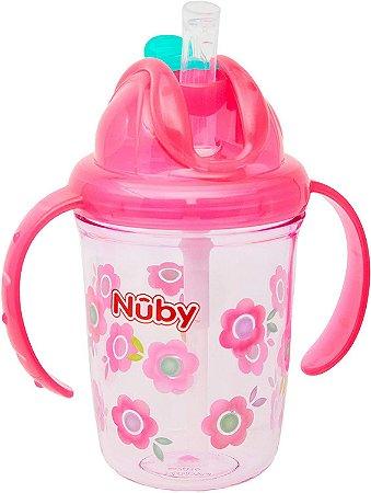 Copo de Bebê Tritan COM ALÇA E CANUDO DE SILICONE RETRÁTIL 240ml Rosa +12m - Nûby