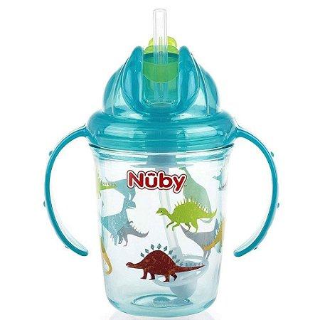 Copo de Bebê Tritan COM ALÇA E CANUDO DE SILICONE RETRÁTIL 240ml Azul +12m - Nûby