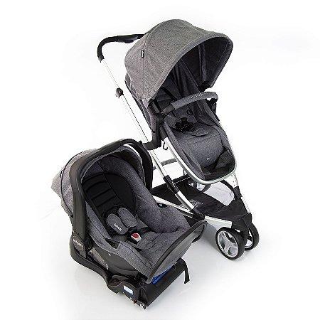 Kit Passeio Carrinho de Bebê, Bebê Conforto e Base Isofix SKY TRIO Grey Classic - Infanti