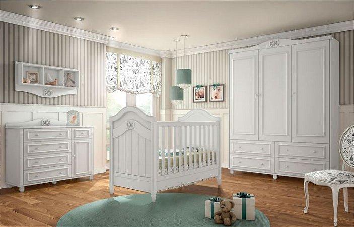 Dormitório Berço + Cômoda Sapateira + Roupeiro Coleção Paris - Puppi