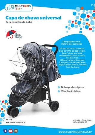 Capa De Chuva Universal Para Carrinho De Bebê - Multikids