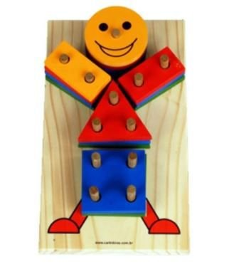 Brinquedo Boneco Geométrico de Madeira - Carimbras