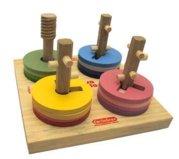 Brinquedo Passa Círculos de Madeira - Carimbras
