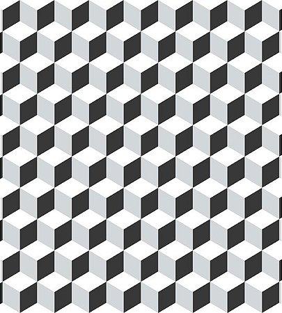 Papel de Parede Coleção Brincar Geométrico Preto e Cinza - Bobinex