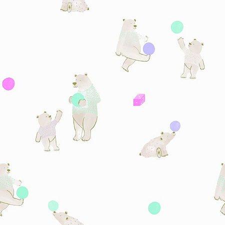 Papel de Parede Coleção Brincar Urso I - Bobinex