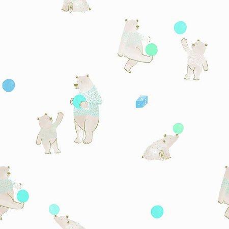 Papel de Parede Coleção Brincar Urso II - Bobinex