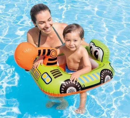 Bóia Bote Infantil Bebê Inflável Baby Bote Kiddie Escavadeira 1-2 Anos - Intex