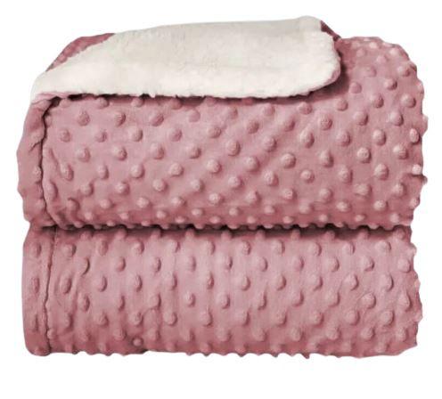 Cobertor Plush com Sherpa Dots Rosa - Laço Bebê