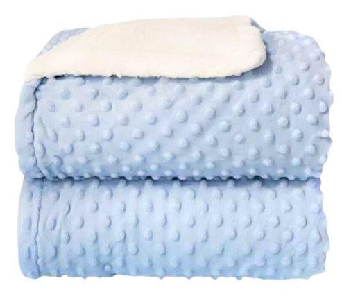 Cobertor Plush com Sherpa Dots Azul Bebê - Laço Bebê