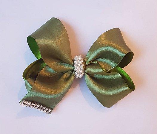 Laço Verde Oliva, 9cm