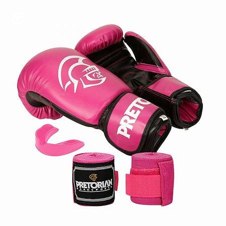 Kit Boxe / Muay Thai Pretorian First Luva 10 OZ Rosa e Preta + Bandagem + Protetor Bucal