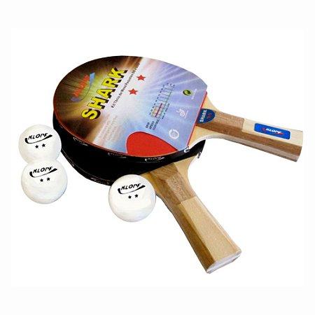 Kit de Tênis de Mesa Ping Pong - 02 Raquetes + 03 Bolinhas Klopf 5055