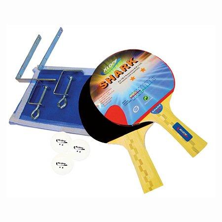 Kit Completo de Tênis de Mesa / Ping Pong - 02 Raquetes, 03 Bolas, Suporte e Rede Klopf 5031