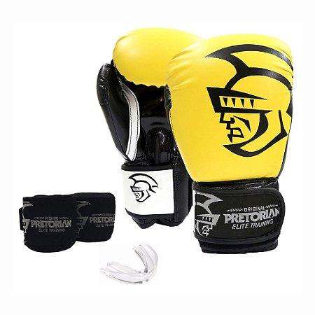 Kit Boxe Muay Thai Pretorian Elite Luva 12 OZ Amarela e Preta + Bandagem + Protetor Bucal