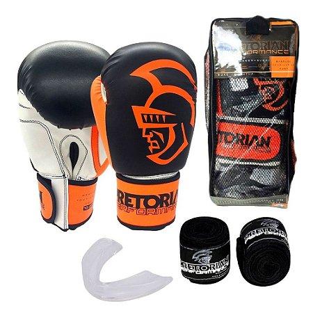 Kit Boxe Muay Thai Pretorian Performance Luva 12 OZ Laranja e Preta + Bandagem + Protetor Bucal