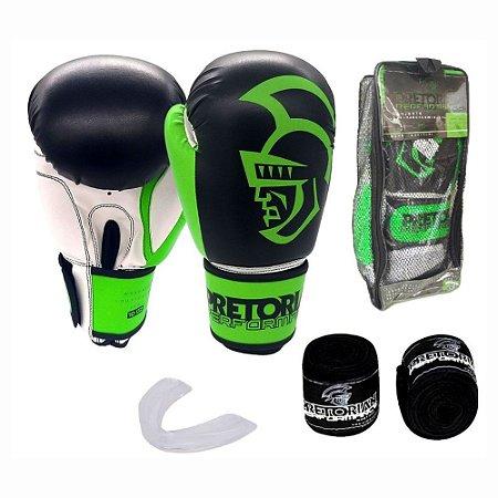 Kit Boxe Muay Thai Pretorian Performance Luva 12 OZ Verde e Preta + Bandagem + Protetor Bucal