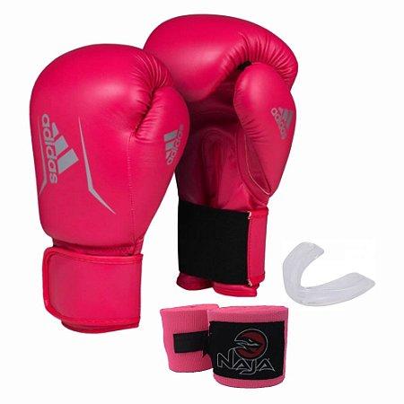 Kit Boxe Muay Thai Adidas Speed 50 Luva 14 OZ Rosa + Bandagem Naja + Protetor Bucal