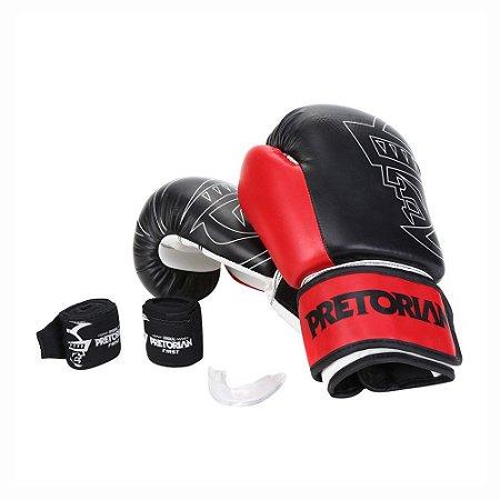 Kit Boxe Muay Thai Pretorian First Luva 12 OZ Preta e Vermelha + Bandagem + Protetor Bucal