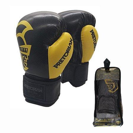 Luva de Boxe Muay Thai Pretorian Black Line Preta e Amarela 14 OZ