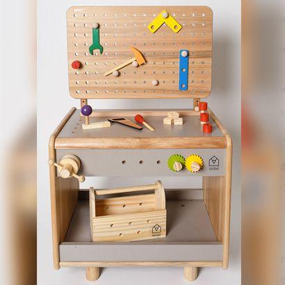 Bancada de Marceneiro (Oficina) Infantil (acompanha caixa de ferramentas e rolo de desenho)